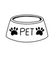 pet bowl food cartoon isolated white background vector image vector image