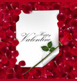 pink rose with blank paper for text vector image vector image