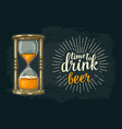 retro hourglass with beer vintage vector image