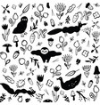 Seamless black and white pattern with animals