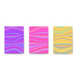 set posters with multi colored stripes wavy vector image