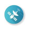 space satellite blue flat design long shadow vector image vector image