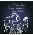 Spaceman astronaut Vintage typography hand drawn vector image