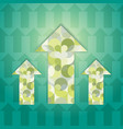 three green patterned multi-colored arrows vector image