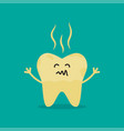 unhealthy tooth cartoon rotten tooth character vector image vector image