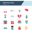 valentine day icons flat design vector image vector image