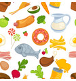 variety raw and processed food joyful seamless vector image