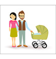 Young couple baby start family newborn people flat vector image