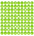100 restaurant icons set green circle vector image vector image