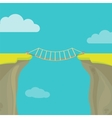 Abyss gap or cliff concept with bridge sky and vector image