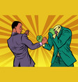 african man fights with the green monster vector image vector image