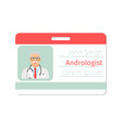 andrologist medical specialist badge template vector image vector image