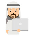 arab with white laptop on white background vector image vector image