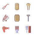 beauty salon stuff icons set flat style vector image vector image