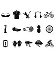 black bicycle icons set vector image