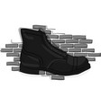 black lace-up shoes against a light gray brick vector image