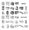 building and architecture monochrom icons in set vector image vector image