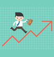 business man run on arrow graph up business vector image