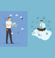 businessman and set of icons vector image