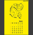 calendar for 2018 year year of the yellow dog vector image