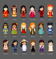 cartoon girls in different national costumes vector image