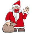 cartoon santa claus character in face mask vector image