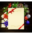 Christmas background on wood vector image vector image