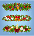 christmas festive garland with xmas gift and decor vector image vector image