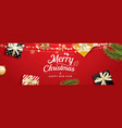 christmas greeting card with gift boxes on red vector image vector image