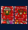 christmas wreath with gift winter holidays card vector image vector image