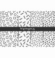 collection of four black and white memphis vector image vector image