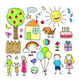 colored children drawings elements set vector image