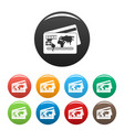 credit card icons set color vector image vector image