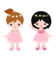 cute baby ballerinas in pink dress clipart vector image
