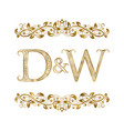 d and w vintage initials logo symbol the letters vector image