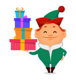 funny santa claus helper elf vector image vector image