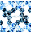 geometric technological digital blue hexagon vector image vector image