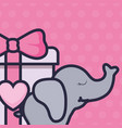 gift box present with elephant vector image