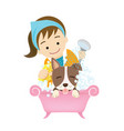 grooming dog vector image
