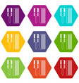 hair comb icons set 9 vector image vector image