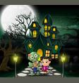 happy halloween zombie cartoon in front of the hau vector image vector image