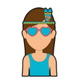 hippie woman cartoon vector image vector image