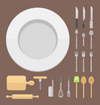 kitchen dishes flat seamless pattern vector image vector image