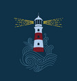 lighthouse among waves vector image vector image