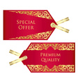 Luxury red and golden price tag with vintage vector image vector image