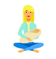mom holds baby in his hands sitting in a lotus vector image