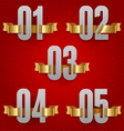numbers with golden ribbons vector image