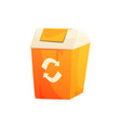 orange garbage can with recycling sign waste vector image vector image