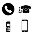 phones icon set four units bw vector image vector image
