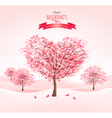 Pink heart-shaped sakura trees Valentines day vector image vector image